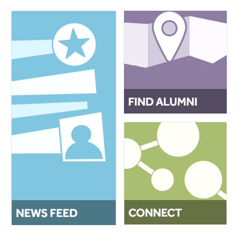 News feeds, find alumni and connect